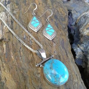 Jewelry - Sterling Silver Turquoise NECKLACE SET